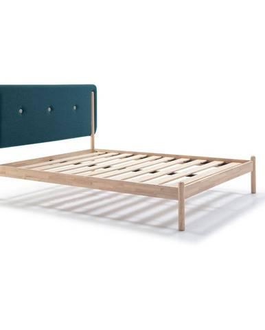 Drevená posteľ s tyrkysovomodrým čelom Marckeric Annie, 160 x 200 cm