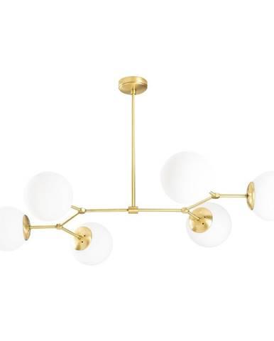 Závesné svietidlo pre 6 žiaroviek v zlato-bielej farbe Opviq lights Damar Horizontal