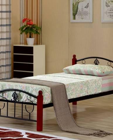 Tempo Kondela Jednolôžková kovová posteľ MAGENTA / 90x200