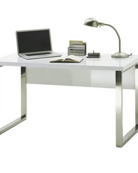 Sconto Písací stôl ABADON biela vysoký lesk