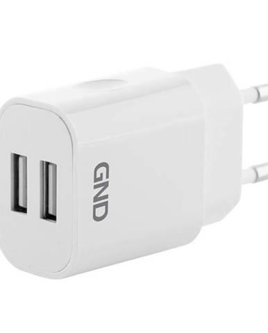 Nabíjačka do siete GND 2x USB, 2A biela