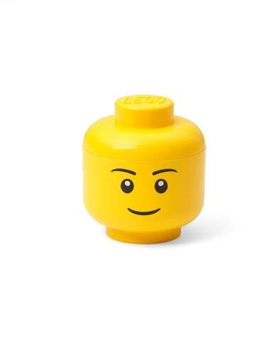 Žltá úložná škatuľa v tvare hlavy LEGO® boy, 10,5x10,6x12cm