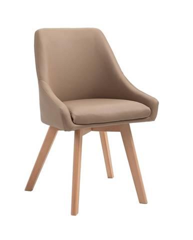 Jedálenská stolička béžová ekokoža/buk TEZA poškodený tovar