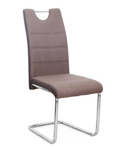 Stolička látka hnedá/ekokoža hnedá/chróm IZMA poškodený tovar