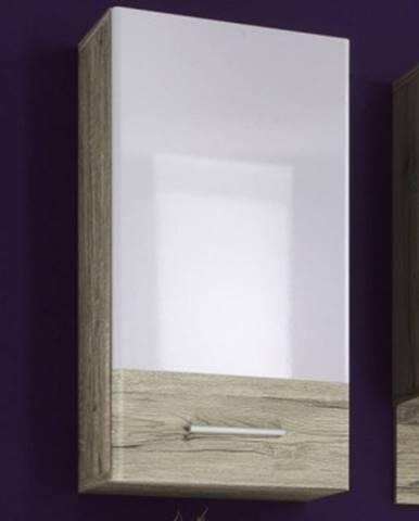 Kúpeľňová závesná skrinka Barolo, dub san remo/lesklá biela%