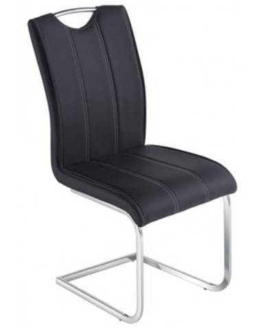 Jedálenská stolička Elza,čierna ekokoža%