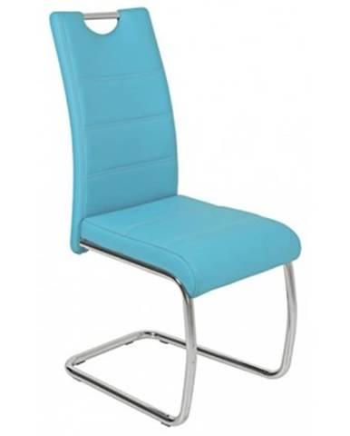 Jedálenská stolička Flora, petrolejovo modrá ekokoža%