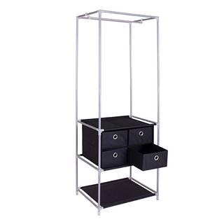 Šatníkový viacúčelový regál strieborná/čierna CODY