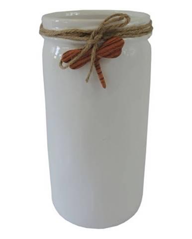Keramická váza VK54 biela s vážkou