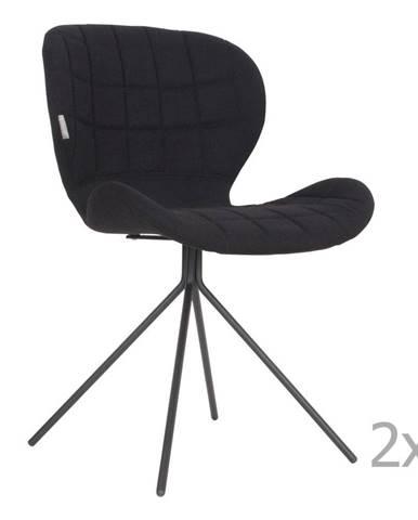 Súprava 2 čiernych stoličiek Zuiver OMG