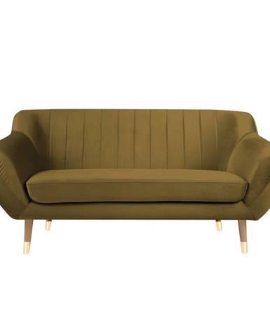 Zamatová pohovka v zlatej farbe Mazzini Sofas Benito, 158 cm
