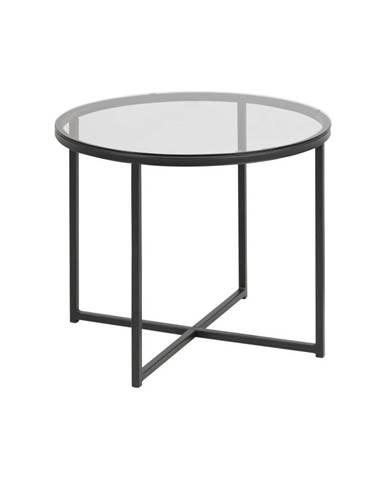 Odkladací stolík so sklenenou doskou Actona Cross, ⌀ 55 cm