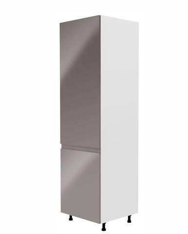 Skrinka na chladničku biela/sivá extra vysoký lesk ľavá AURORA D60ZL