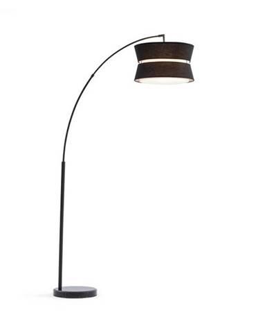 Besoa Amar, oblúková lampa, čierne tienidlo, mramorový podstavec, E27, sieťový kábel: 1,7 m, čierna