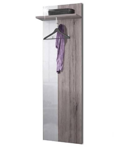 Vešiakový panel dub canyon/biela extra vysoký lesk RACHEL TYP 3