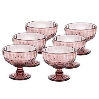 Vintage sklené poháre na zmrzlinu 6ks 300ml ružová FREGATA TYP 5