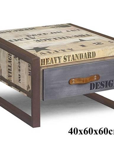 FABRICA Konferenčný stolík so zásuvkou 60x60 cm, mango