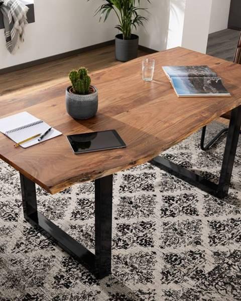 Bighome.sk METALL Jedálenský stôl s antracitovými nohami (lesklé) 180x90, akácia, prírodná