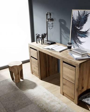 VEVEY Písací stôl 150x50 cm, tmavohnedá, dub
