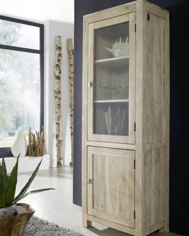 WHITE WOOD Vitrína 190x65 cm, akácia