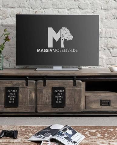 IRON TV stolík 160x55 cm, mango, sivá