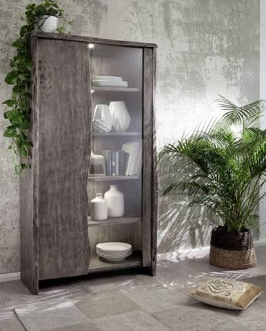 WOODLAND vitrína 204x105 cm, sivá, akácia