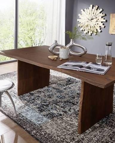WOODLAND Jedálenský stôl 220x100 cm, tmavohnedá, akácia