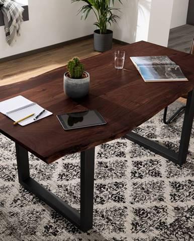 METALL Jedálenský stôl s antracitovými nohami (matné) 200x100, akácia, hnedá