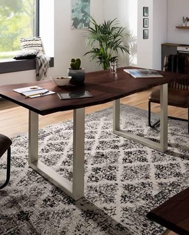 METALL Jedálenský stôl so striebornými nohami 220x100, akácia, hnedá