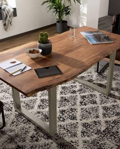 METALL Jedálenský stôl so striebornými nohami 220x100, akácia, prírodná