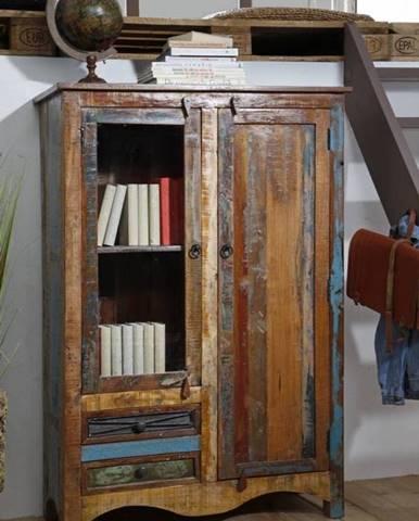OLDTIME Vitrína 140x95 cm, staré drevo