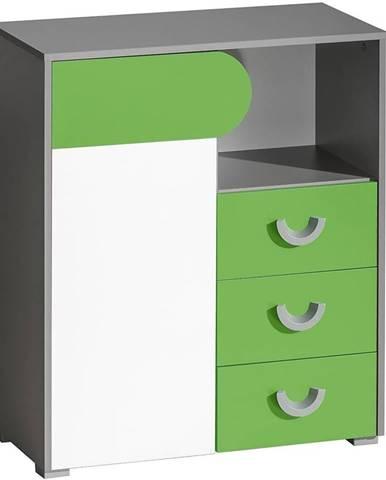 Komoda Futuro F6 Zelená/Biely/Grafit