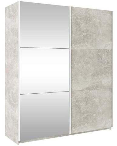 Skriňa Trend 170 cm beton svetlý/zrkadlo