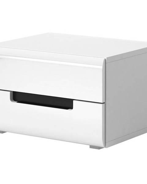 MERKURY MARKET Nočný stolík Hektor 22 biely/biely lesk