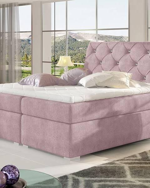 NABBI Beneto 160 čalúnená manželská posteľ s úložným priestorom ružová (Omega 91)