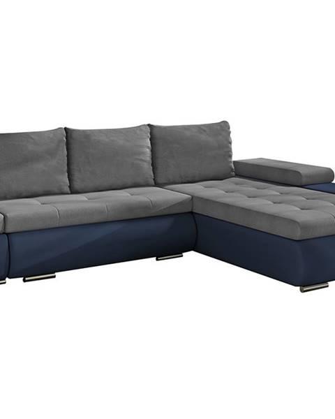 NABBI Oristano P rohová sedačka s rozkladom a úložným priestorom sivá