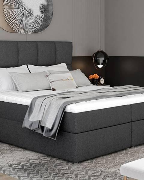 NABBI Grosio 185 čalúnená manželská posteľ s úložným priestorom tmavosivá