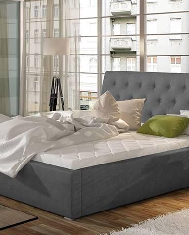 Monzo UP 160 čalúnená manželská posteľ s roštom tmavosivá
