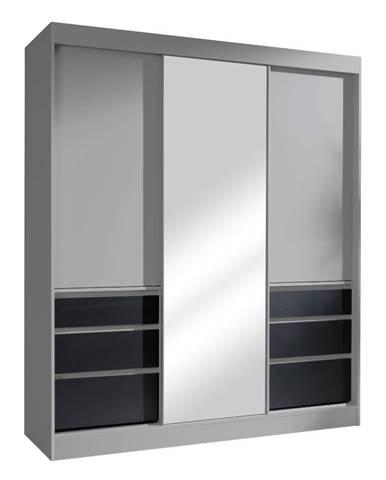Romualda 180 šatníková skriňa s posuvnými dverami a zrkadlom sivá