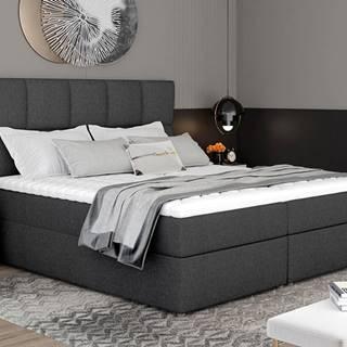 Grosio 185 čalúnená manželská posteľ s úložným priestorom tmavosivá