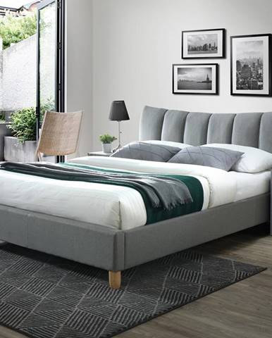 Sandy 2 160 čalúnená manželská posteľ s roštom sivá