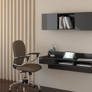 Uno pc stolík na stenu s policou čierna