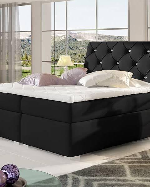 NABBI Beneto 140 čalúnená manželská posteľ s úložným priestorom čierna (Soft 11)
