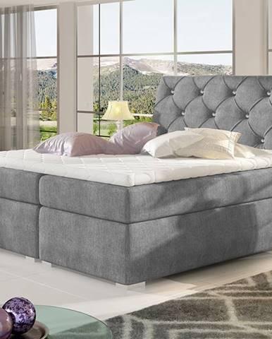Beneto 160 čalúnená manželská posteľ s úložným priestorom tmavosivá (Omega 13)
