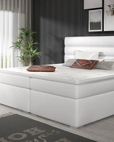 Spezia 140 čalúnená manželská posteľ s úložným priestorom biela