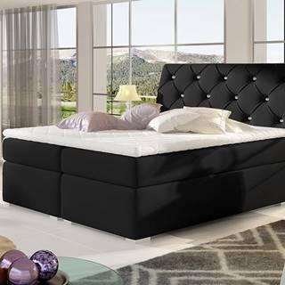 Beneto 140 čalúnená manželská posteľ s úložným priestorom čierna (Soft 11)