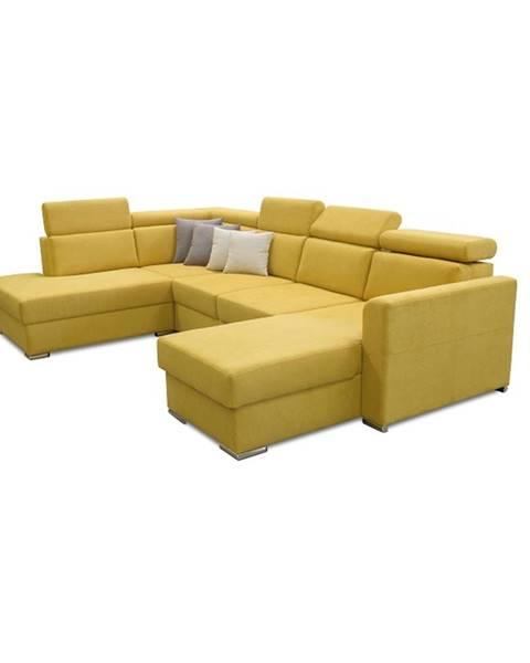 Tempo Kondela Marieta L rohová sedačka u s rozkladom a úložným priestorom žltá