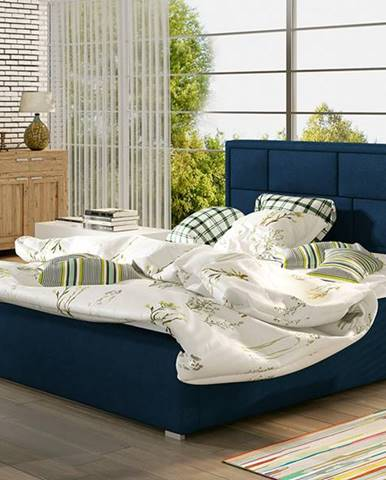 Liza UP 200 čalúnená manželská posteľ s roštom tmavomodrá