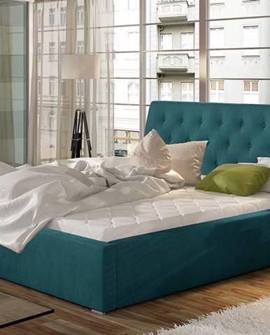 Monzo 140 čalúnená manželská posteľ s roštom tyrkysová