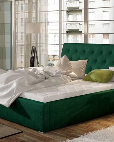 Monzo UP 180 čalúnená manželská posteľ s roštom tmavozelená